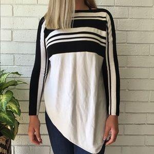 St. John | Long Sleeve Sweater Black White Stripes